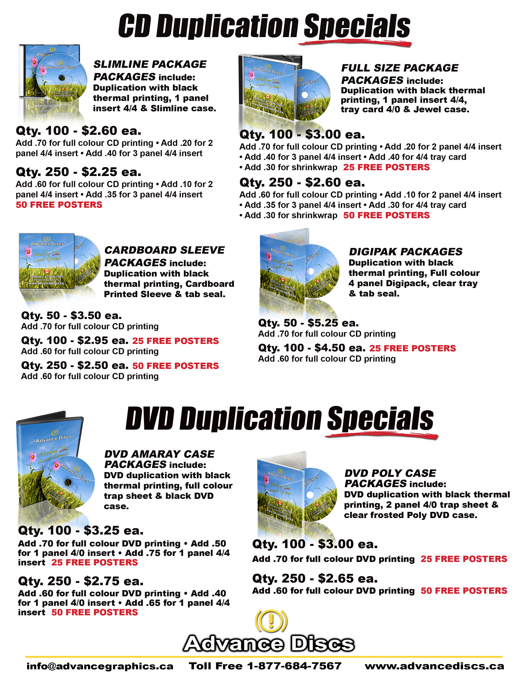 cd duplication prices and dvd duplication prices canada